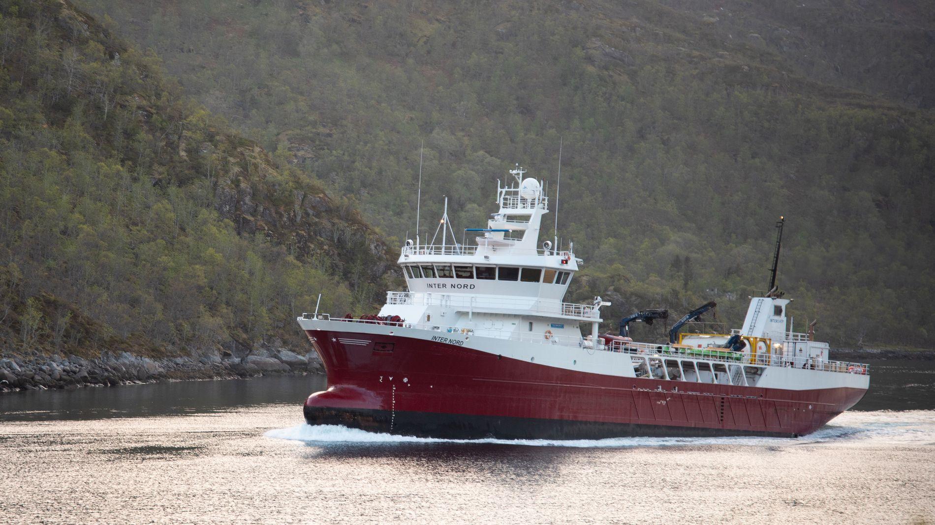 FULL GASS: Brønnbåten Inter Nord kjører tirsdag kveld og natt til onsdag i skyttel mellom Nordlaks' anlegg i Votvika øst for Svolvær og Brottøya i Hadsel. Her er skipet på full fart gjennom Raftsundet sent tirsdag kveld.
