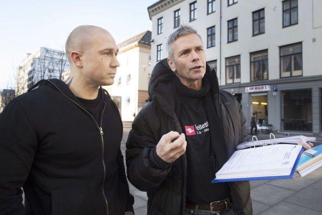 BEMANNINGSKAMP: Rørlegger Michael Fjordager (t.v.) og organisasjonsarbeider Boye Ullmann i Rørleggernes Fagforening i Fellesforbundet har rettet krav mot bemanningsselskapet Personal Partner AS. Fjordager jobber fortsatt i Oslo, men for et annet bemanningsselskap.