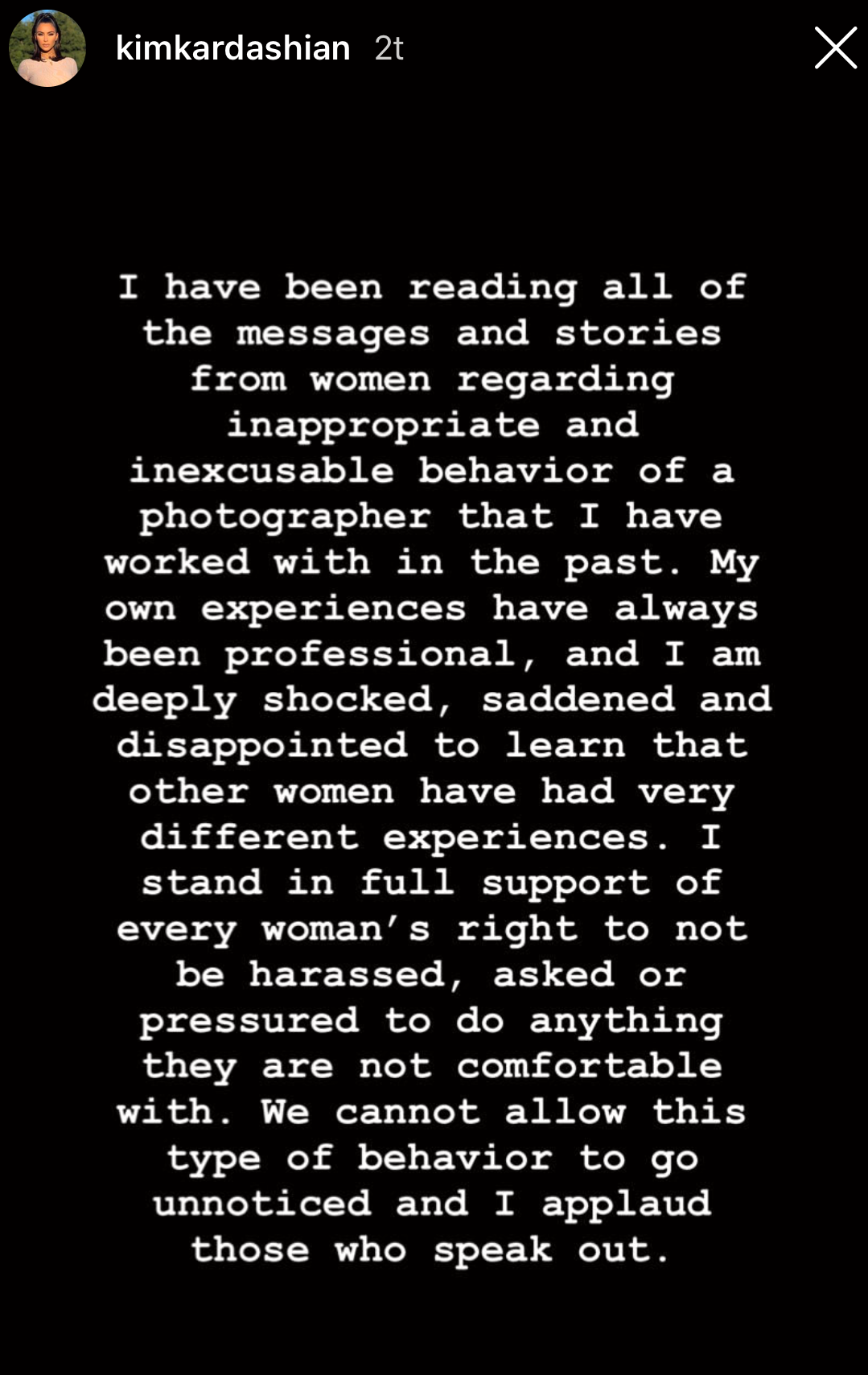 SJOKKERT: Kim Kardashian støtter kvinners rett å ikke bli trakassert.