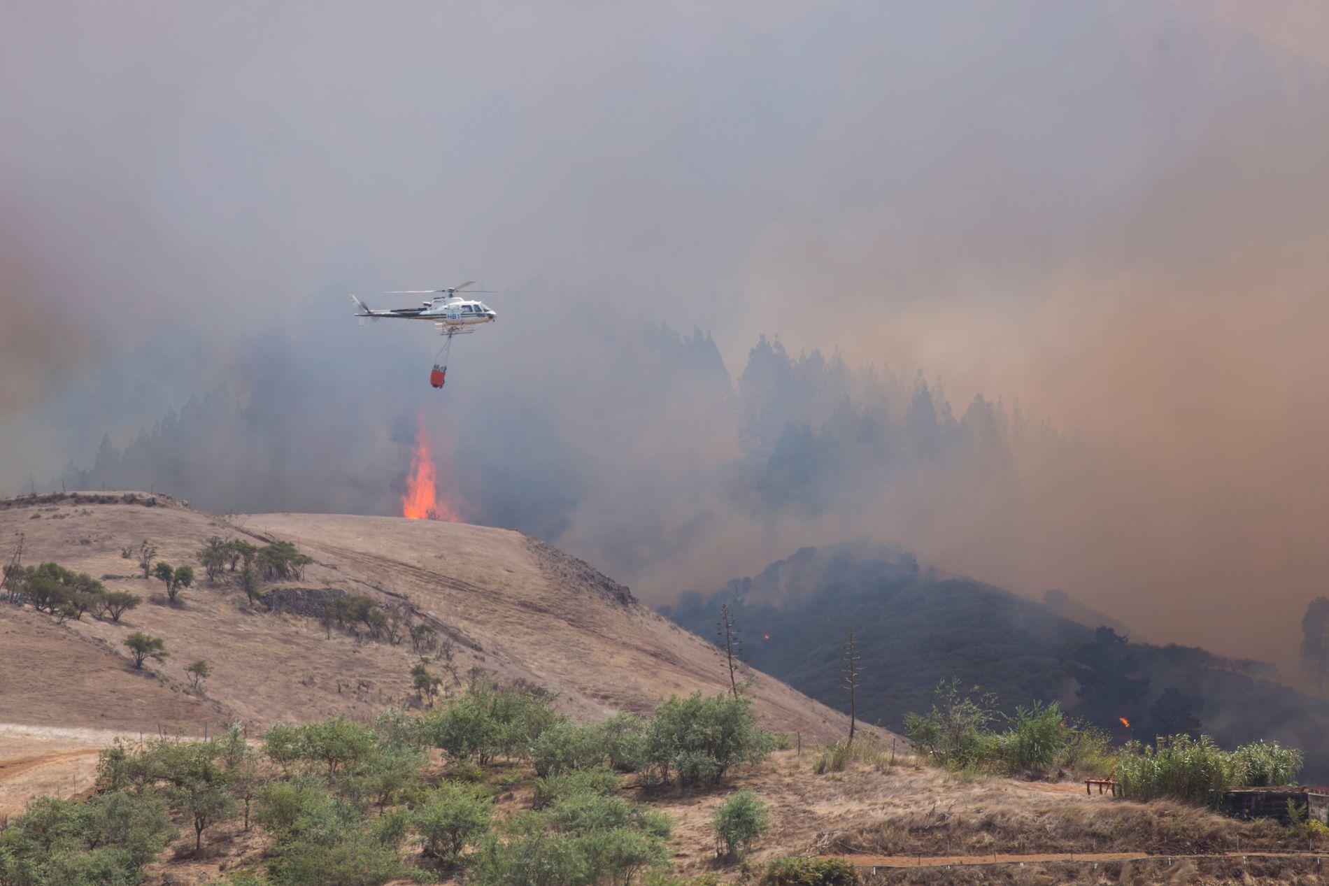 DUMPER VANN: Her slipper et helikopter vann over flammene ved landsbyen Galdar.