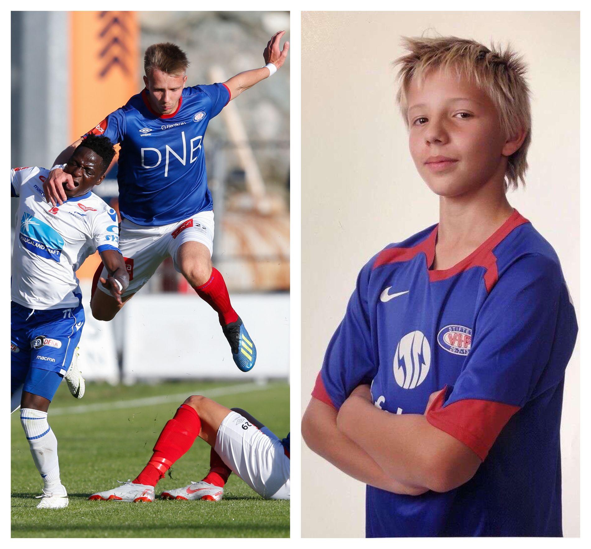 TILLIT: Til venstre gjør Näsberg alt han kan for å stoppe Akintola. Til høyre er han 11 år og drømmer om å spille for A-laget til Vålerenga.