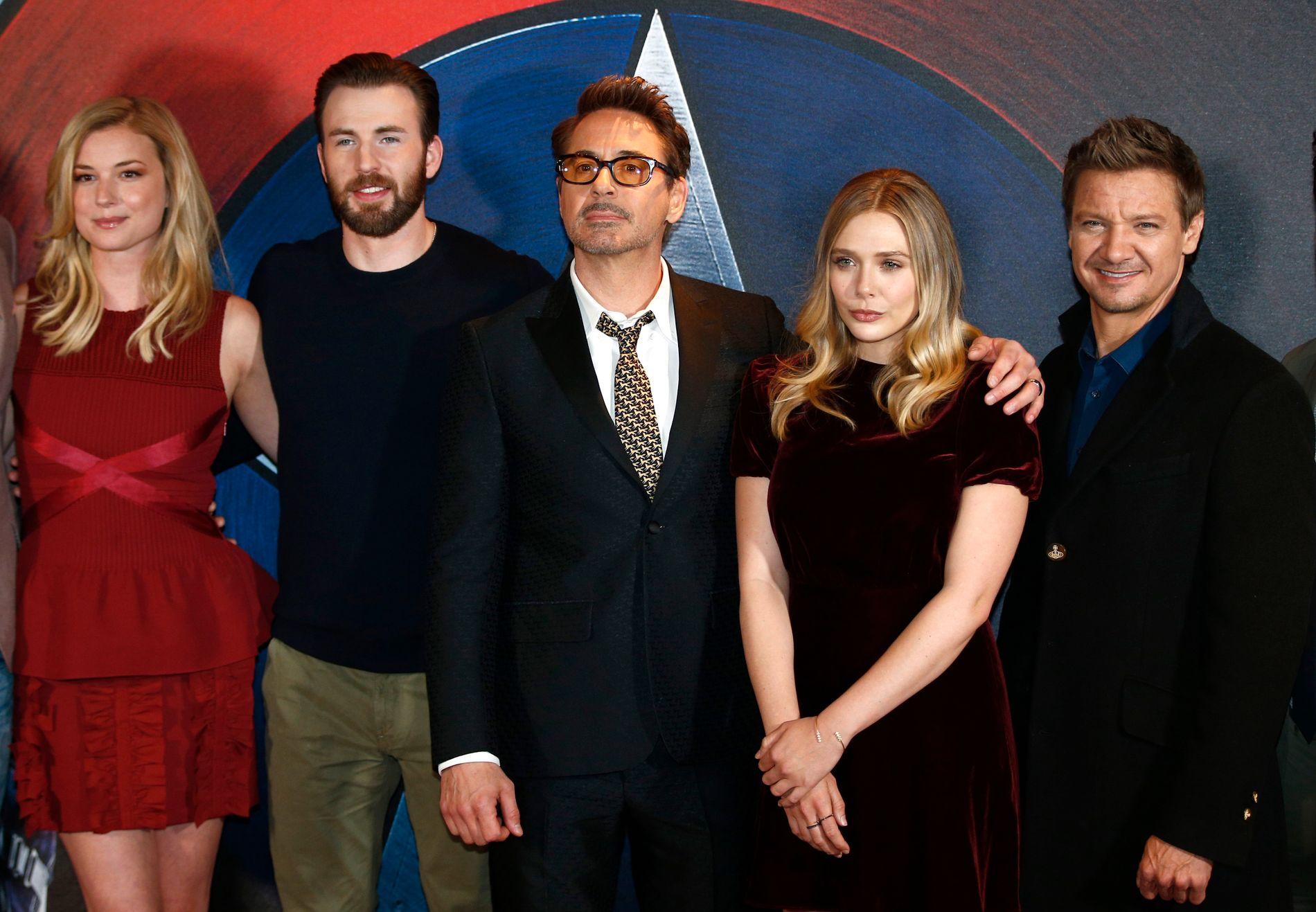 STJERNESPEKKET: Emily VanCamp, Chris Evans, Robert Downey Jr, Elizabeth Olsen og Jeremy Renner er bare noen av stjernene som er med i den nye «Captain America»-filmen.