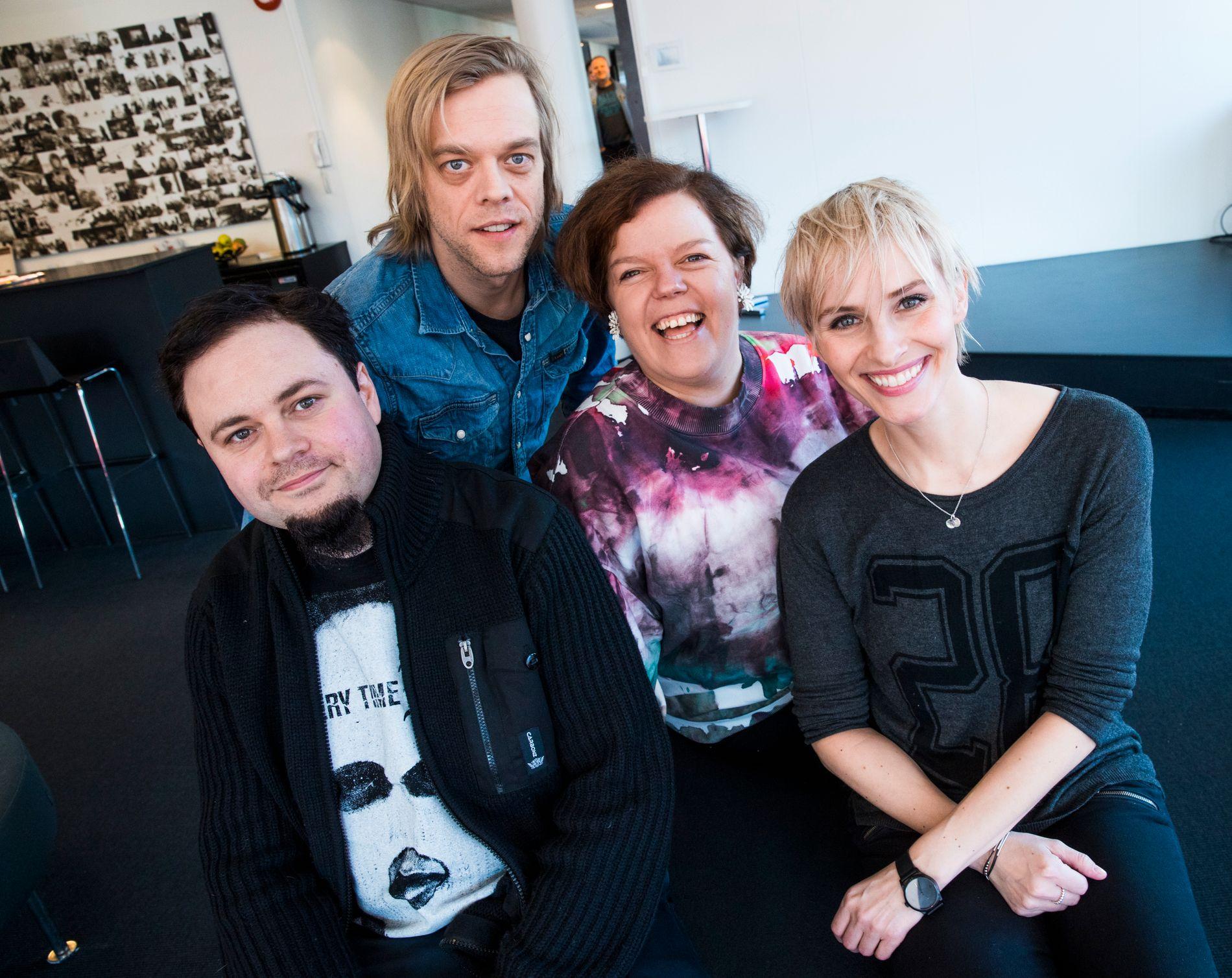 KOLLEGER: Dag Sørås, Calle Hellevang-Larsen, Else Kåss Furuseth og Anne Rimmen. Anne Rimmen er programleder.