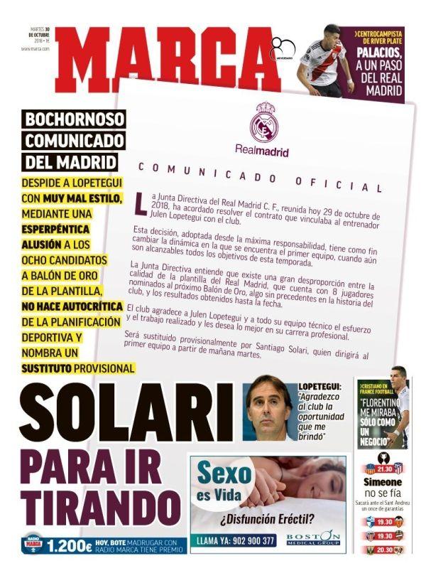 SLAKTER KLUBBEN: Marca har trykket hele Real Madrids pressemelding på forsiden og kaller det «skammelig» av klubben.