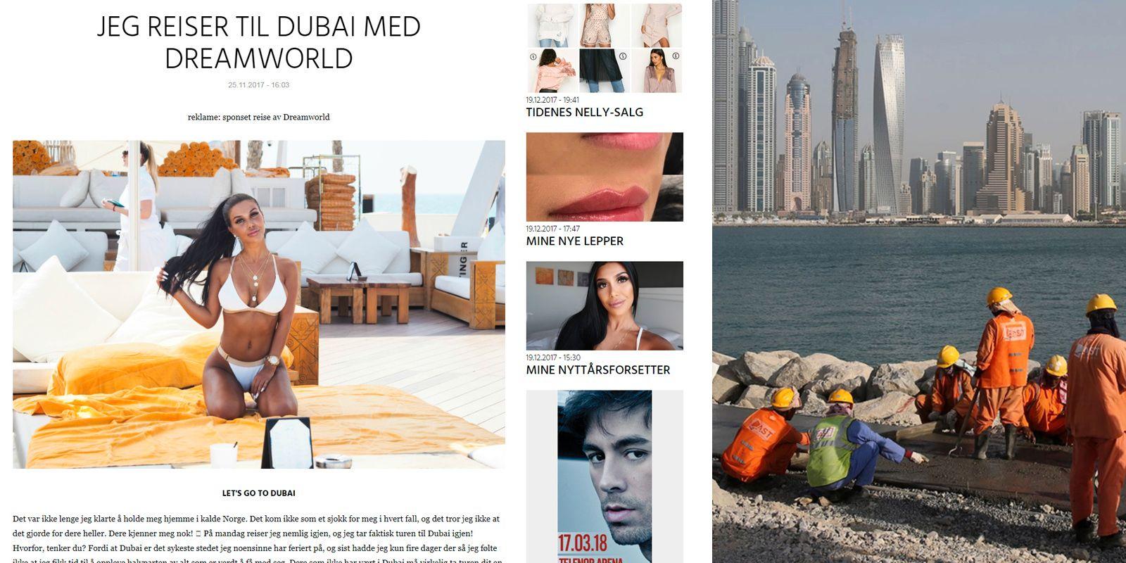 FORSKJELLER: Blogger Isabel Raad var i november på sponset ferie i Dubai. Samtidig opplever arbeidere i landet (t.h.) at de har få rettigheter i landet.