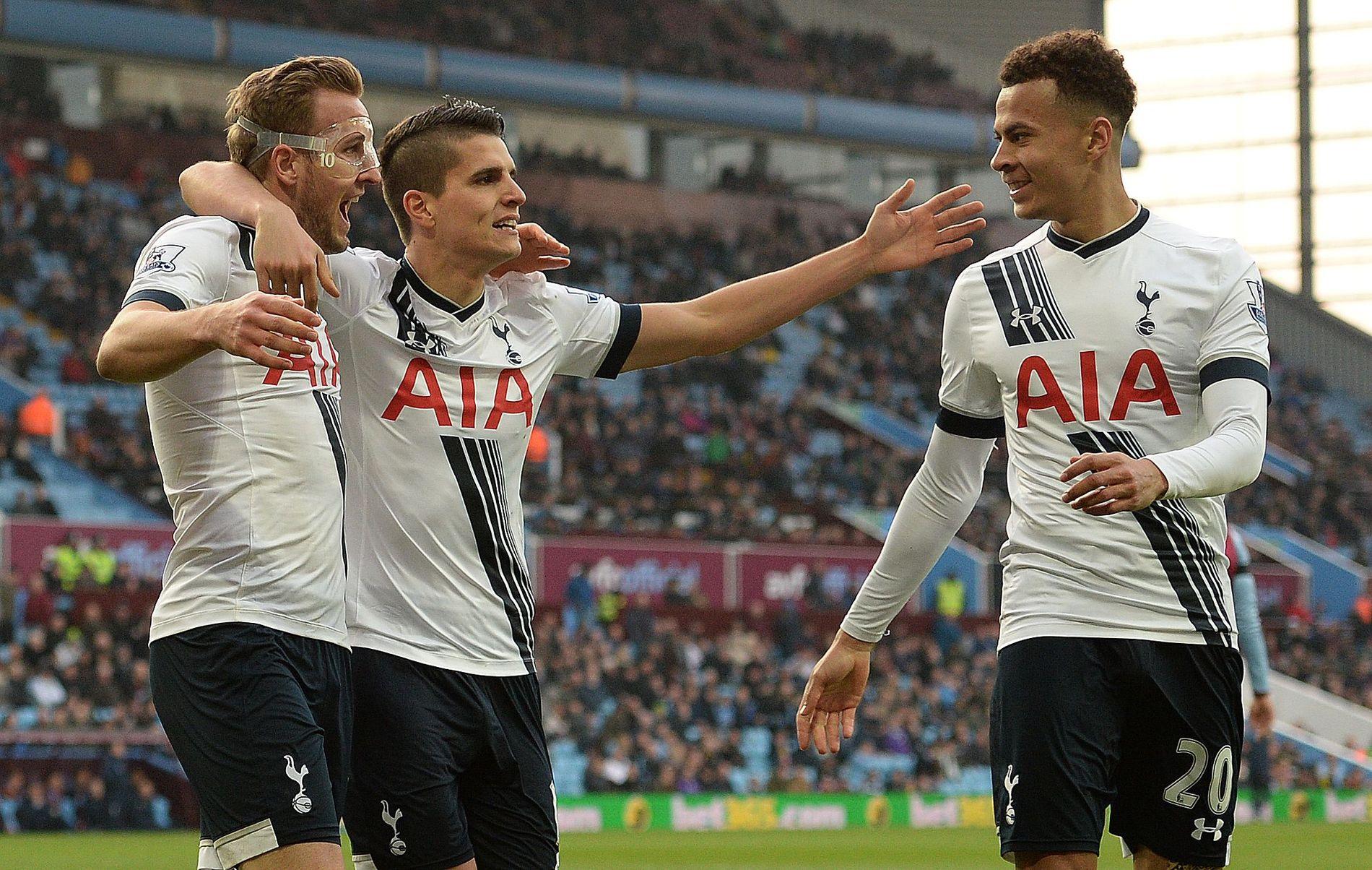 KOMMER TIL NORGE: Tottenhams Harry Kane (f.v), Erik Lamela og Dele Alli.