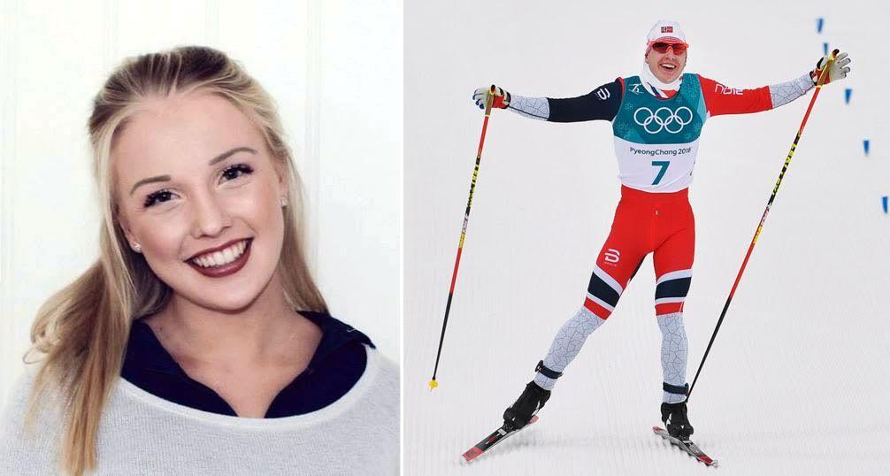 LYKKELIGE SAMMEN: Kristine Ringsjø Tufte gråt da kjæresten Simen Hegstad Krüger gikk inn til OL-gull etter et svært dramatisk løp.