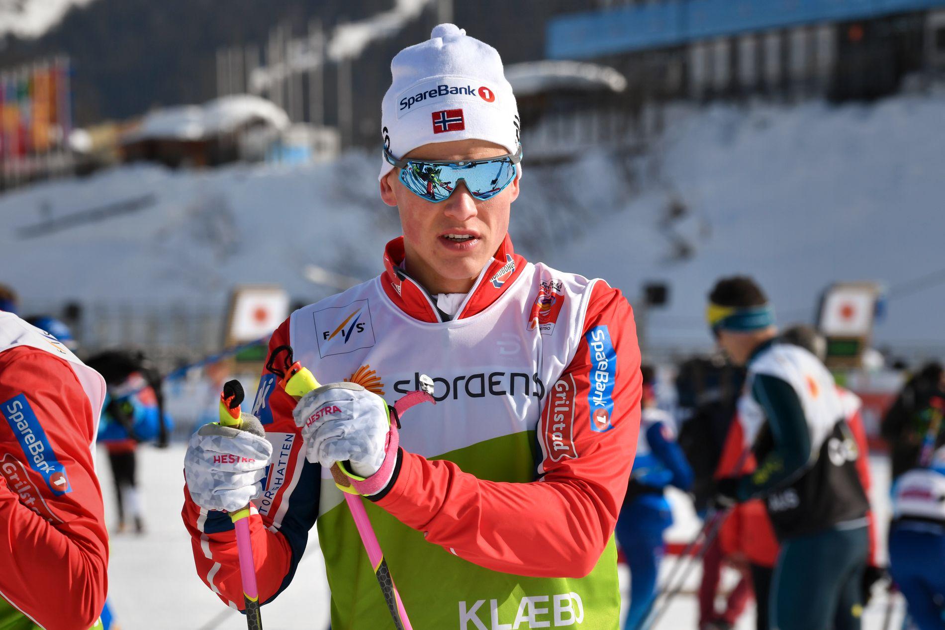 ENER I LANDSLAGET: Johannes Høsflot Klæbo har i løpet av to mesterskap på rad blitt den løperen på landslaget med flest gull.