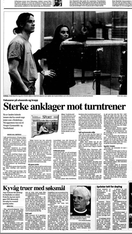 Daværende turnpresident Tove Paule uttalte for 20 år siden at de tok anklagene mot Linda Gundersen alvorlig.