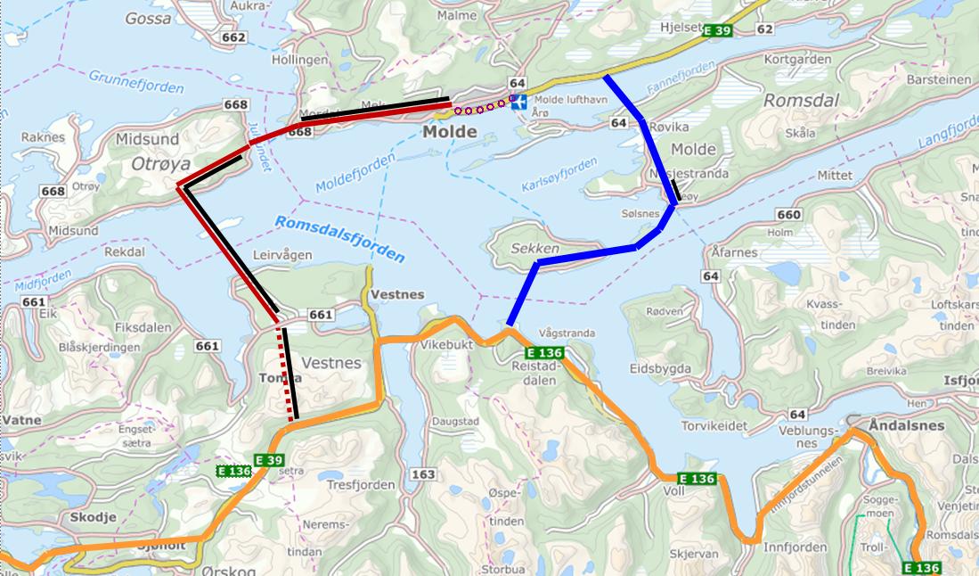 RØDT ER VEDTATT: Her er de to alternativene for E39 mellom Ålesund og Molde. Veien markert i rødt er vedtatt, og innebærer en 16 km lang undersjøisk tunnel under Romsdalsfjorden. Den blå veien er basert på flytebro og mindre tunneler, og unngår undersjøisk tunnel.