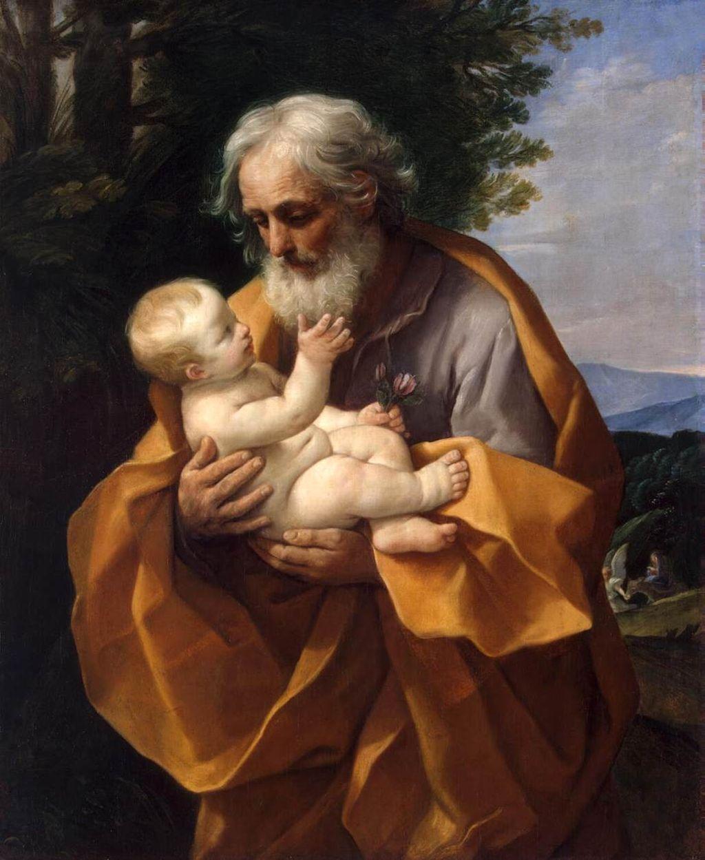 FARSFIGUR: – Det er på høy tid å løfte frem Josef som en av de store heltene i julefortellingen, skriver Kim Larsen. Bilde: «Saint Joseph with the Infant Jesus» av Guido Reni, c.1635.