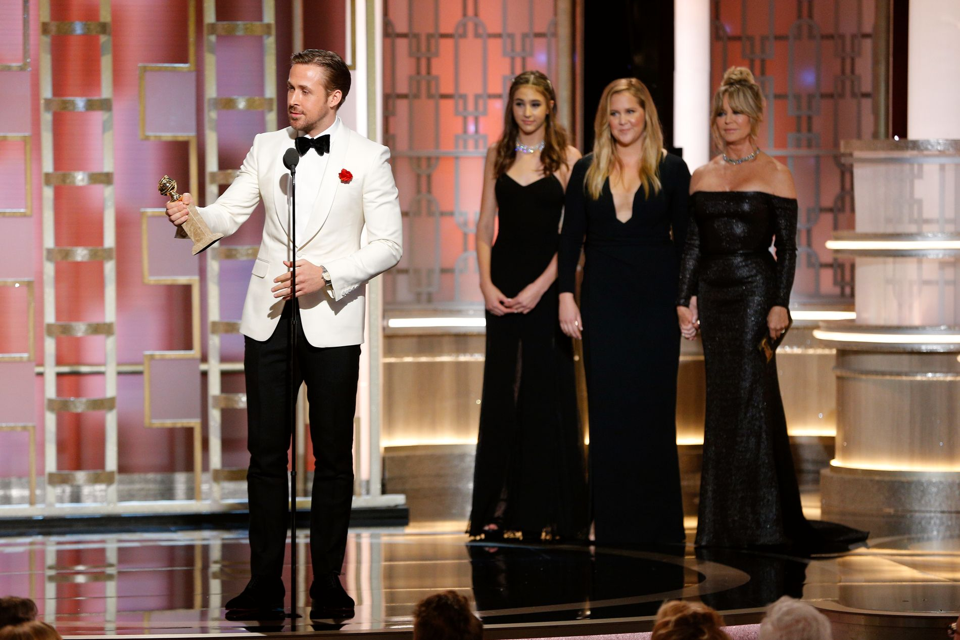 RØRTE SALEN: Ryan Gosling hyllet sin kjære under takketalen da han vant årets mannlige hovedrolle i kategorien musikal/komedie-film.