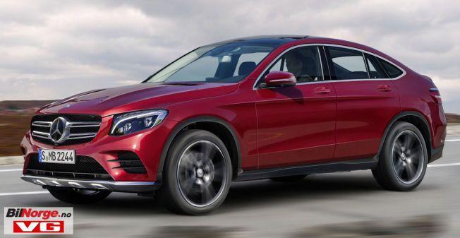 SPORTY OG PRAKTISK: Mercedes GLC Coupé blir et attraktivt alternativ for de som ønsker en praktisk bil med sportslige egenskaper. Slik tror spionfotografene bilen vil komme til å se ut, basert på bilder av den kamuflerte modellen.  (Datamanipulasjon)