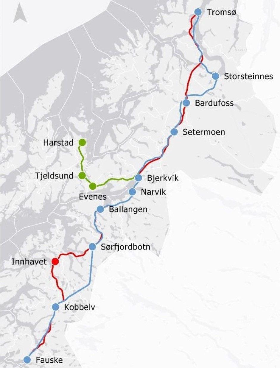 NORD-NORGEBANEN: Den siste utredningen fra Jernbanedirektoratet tilsier grovt utregnet at Nord-Norgebanen mellom Fauske og Tromsø med avstikker til Harstad-Evenes vil komme på 133 milliarder kroner.