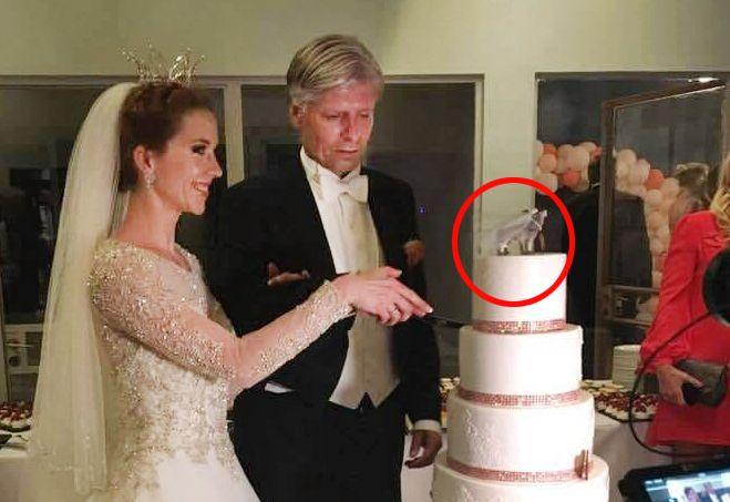 BRYLLUP: På toppen av bryllupskaken sto det to ulver med påskriften «Mr. og Mrs. Elvestuen» da Ola Elvestuen fikk sin Gordana.