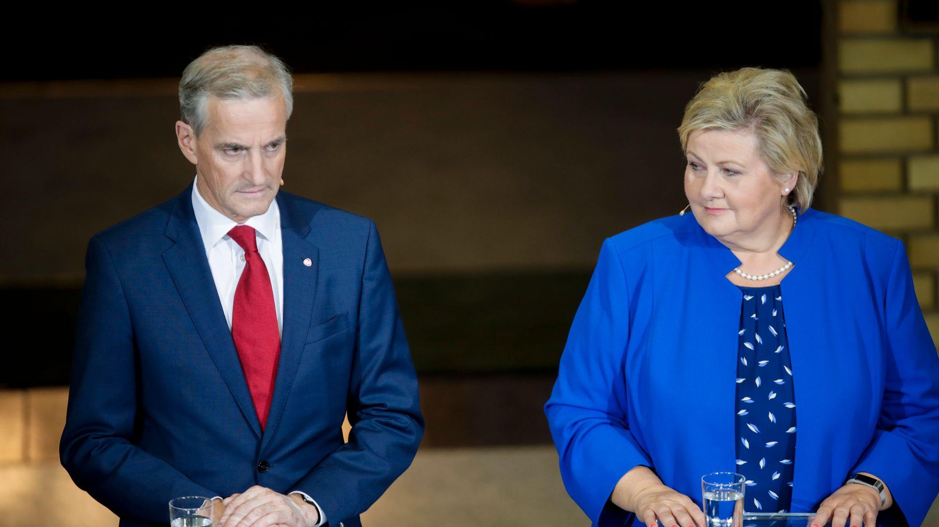 SVAKT: Partiene til AP leder Jonas Gahr Støre og statsminister Erna Solberg (H) gjorde et svakt kommunevalg. Tilbakegangen gjør at flere partier må søke sammen for å få flertall i kommunestyrene.