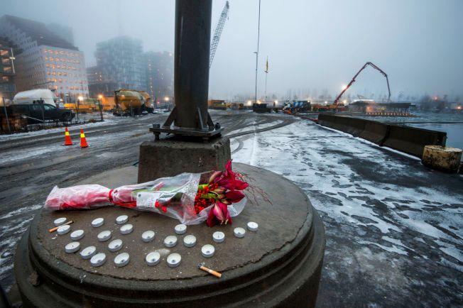 SORG: Bilen med den drepte Galina Sandeva stod her på Bispekaia i Oslo.