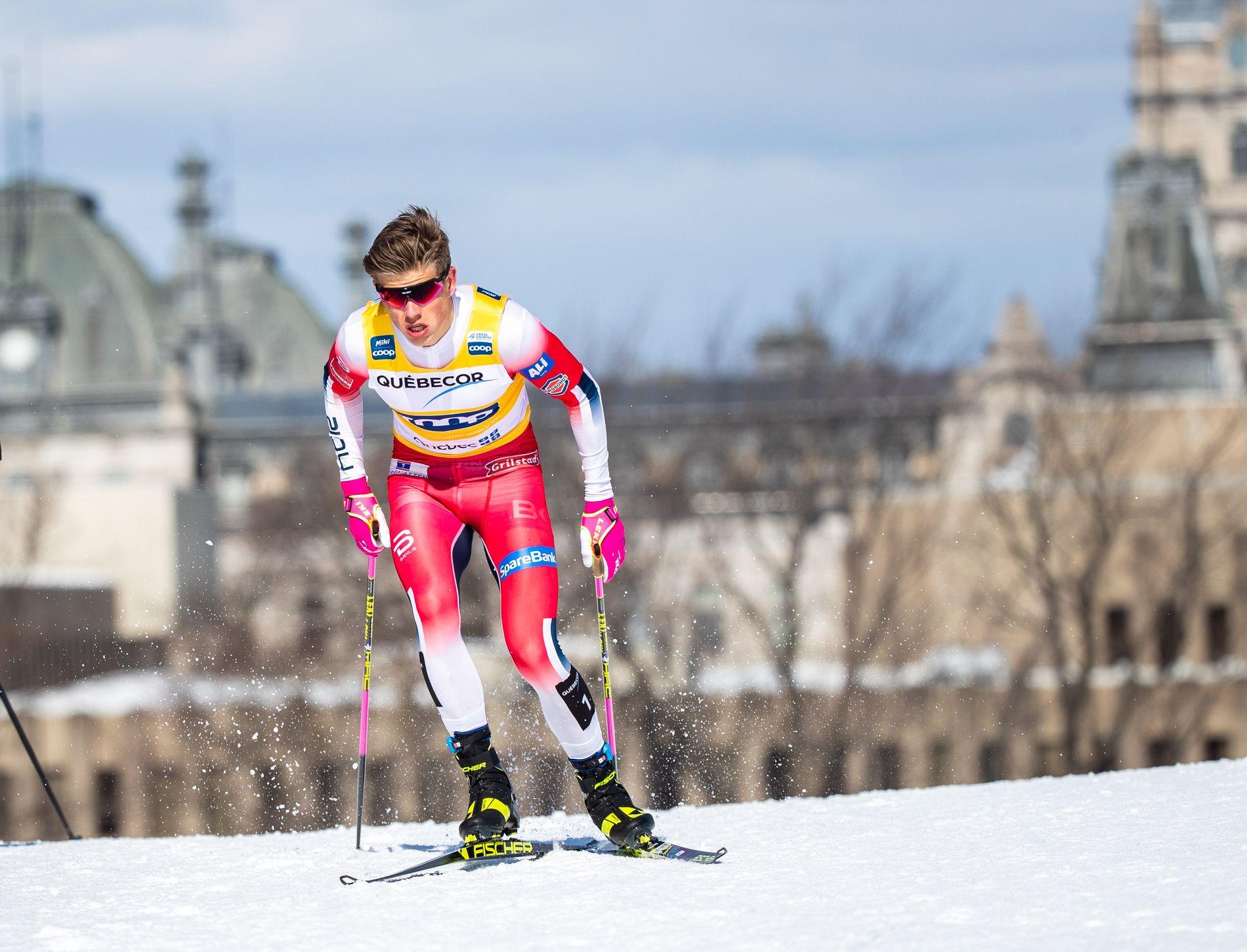 PÅ VEI MOT SEIER: Johannes Høsflot Klæbo har triumfert 13 ganger i verdenscupen denne sesongen.
