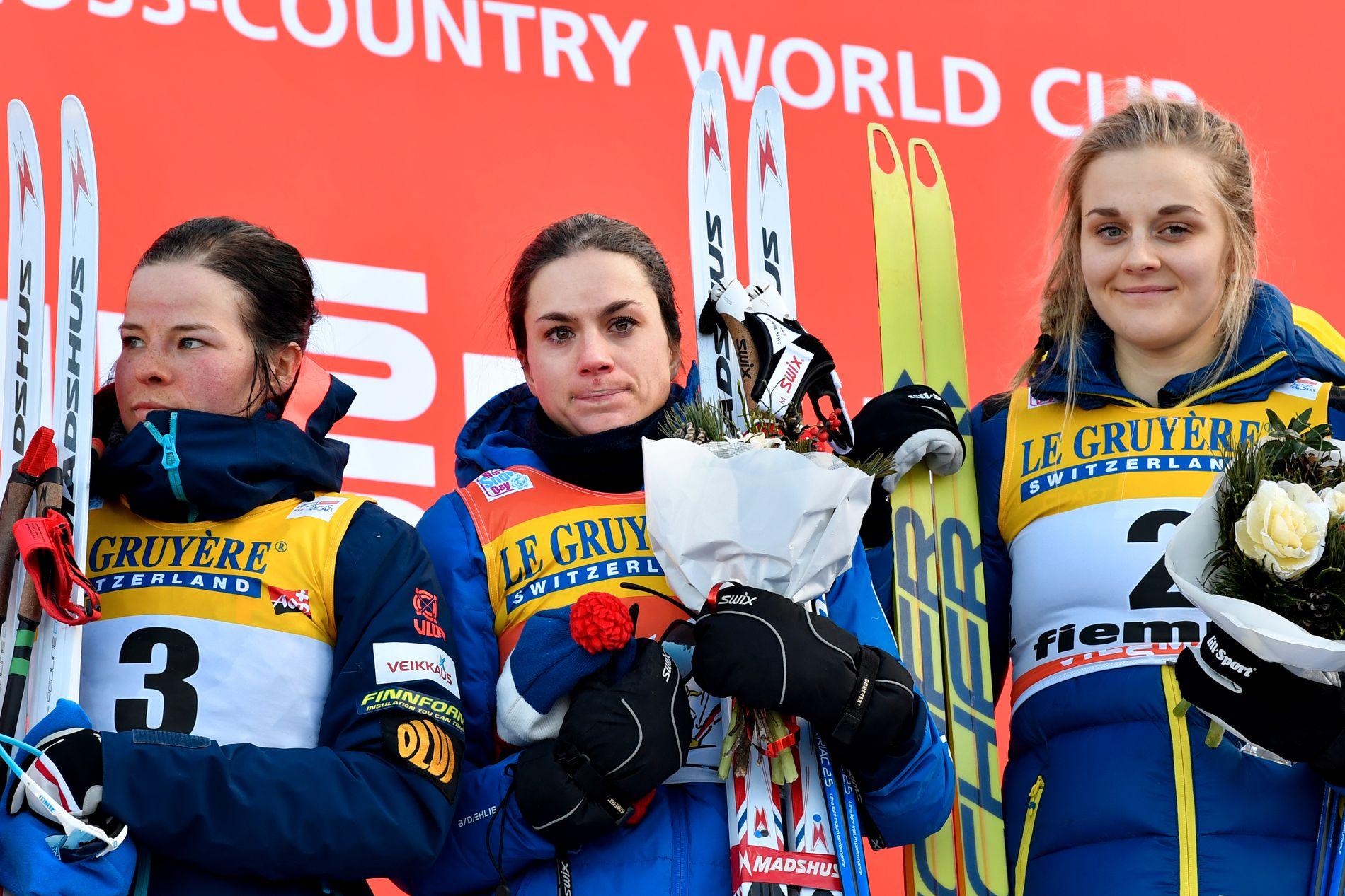 AMPUTERT:  Sist vinter vant Heidi Weng touren foran Krista Pärmakoski og Stina Nilsson. Nå er det uvisst hvor mange av de beste kvinnene som kommer til å fullføre konkurransen.