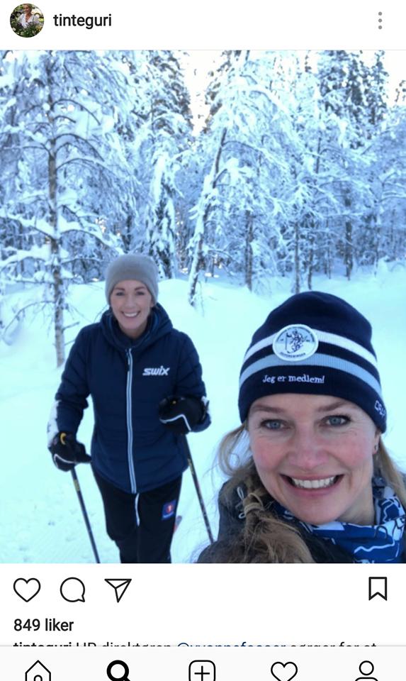 FOSSER OG TRAASETH: Her på skitur.