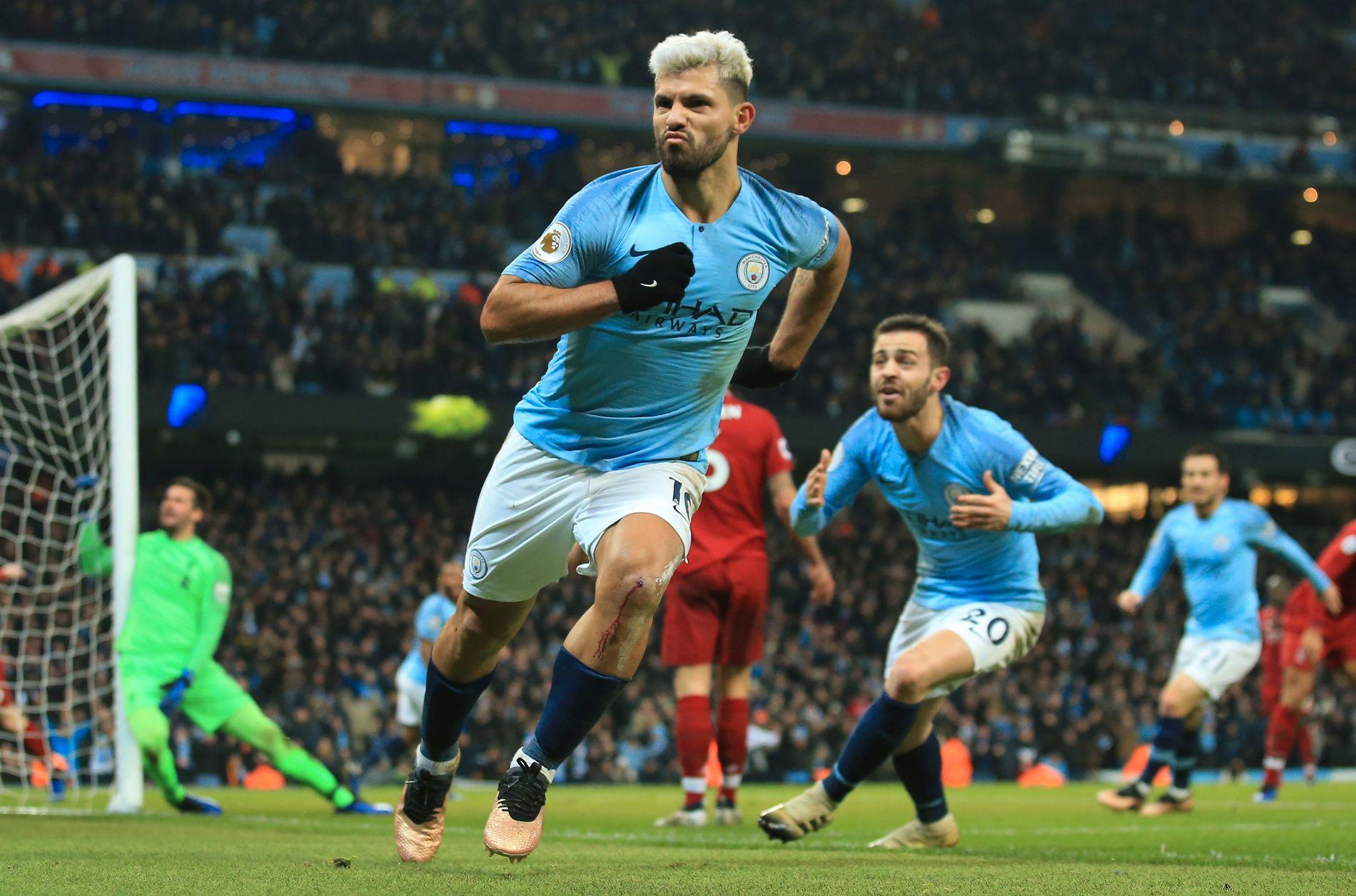JACKPOT: Sergio Agüero scoret i syvende kamp på rad mot Liverpool på hjemmebane.