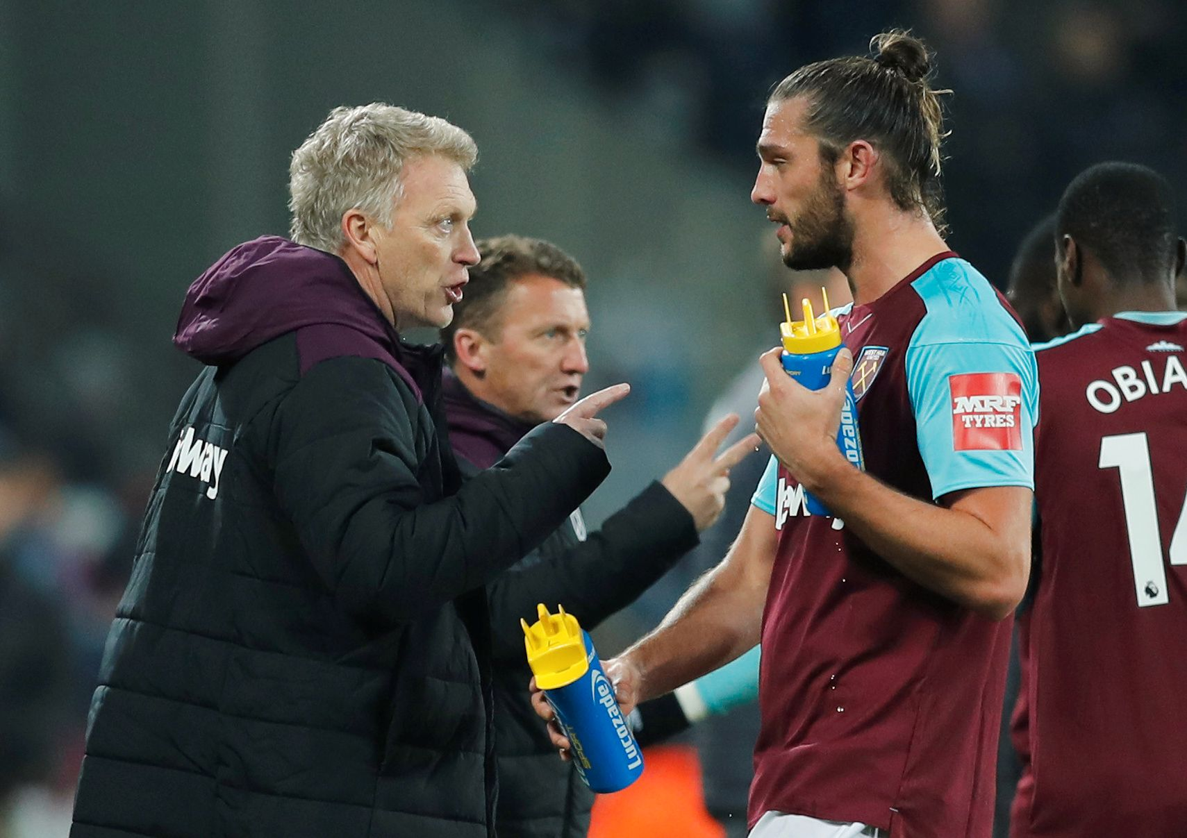 I TRØBBEL: David Moyes med sin spydspiss, Andy Carroll.