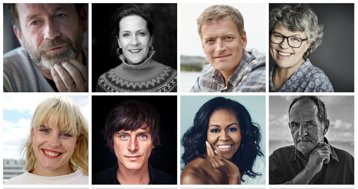 BOK-KLARE: Per Petterson (f.v), Vigdis Hjorth, Lars Mytting, Anne Holt, Ulrikke Falch, Simon Stranger, Michelle Obama og Jon Michelet.