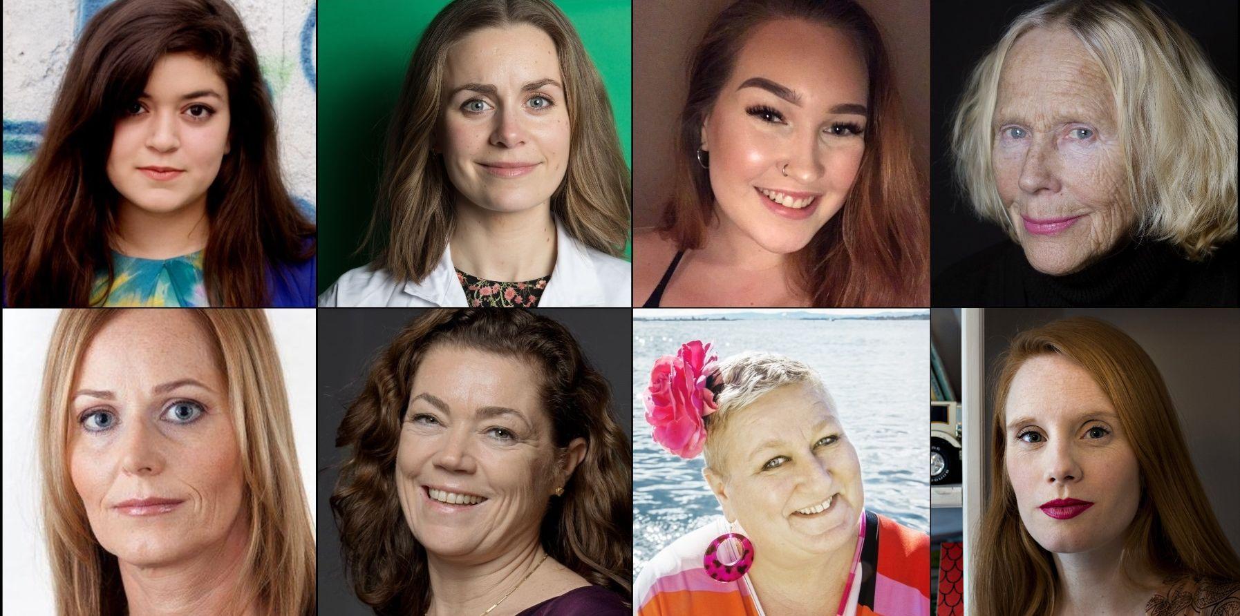ÅTTE STEMMER: Fra venstre over: Nancy Herz, Nina Brochmann, Cecilie Gryte Fjelldal, Henny Moan. Fra venstre under: Mathilde Fasting, Kristin Skogen Lund, Lene Wikander og Susanne Kaluza.