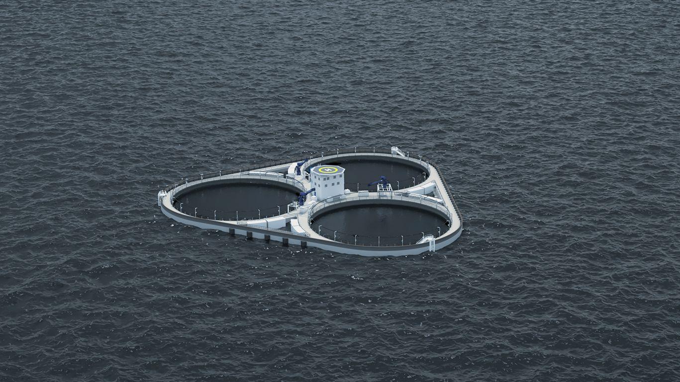 INNOVASJON NORGE-STØTTE: Slik vil betong-oppdrettsanlegget Øymerd til selskapet Astafjord Ocean Salmon se ut når det er ferdig. I midten er det en boligseksjon med helikopterlandingsplass. Innovasjon Norge har støttet prosjektet.