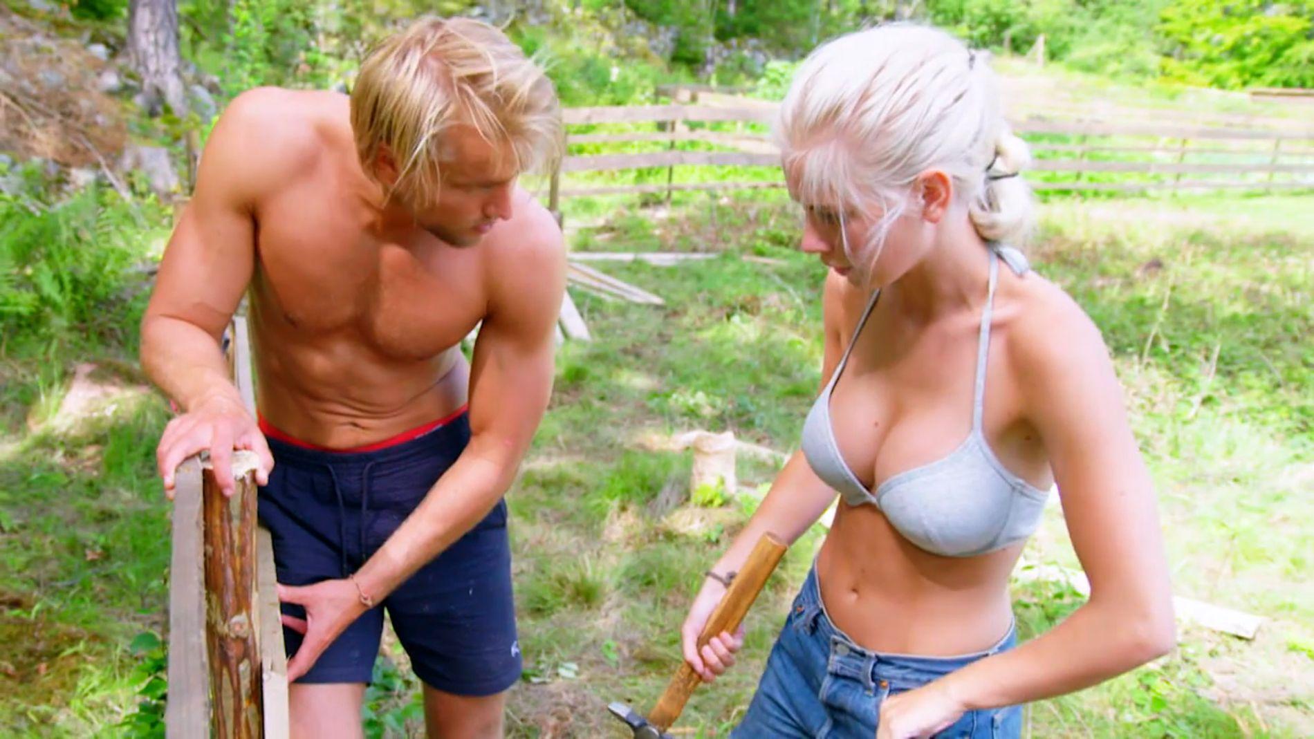 VISTE KROPP: Amalie Snøløs og Mats Beylergaard Brennemo på «Farmen».
