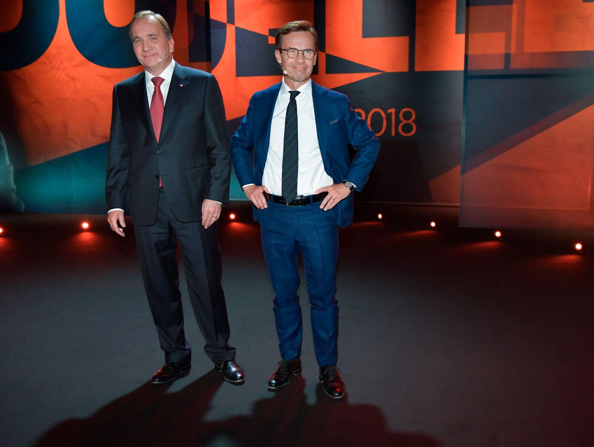 SKAL VÆRE ENIGHET: Socialdemokraternas Stefan Löfven og Moderaternas Ulf Kristersson. Her under TV4s  statsministerduell foran fjorårets valg.