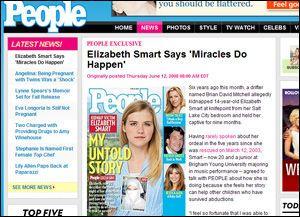 PÅ FORSIDEN: Elizabeth Smart (20) pryder førstesiden på amerikanske People. Foto: Faksimile, People.com