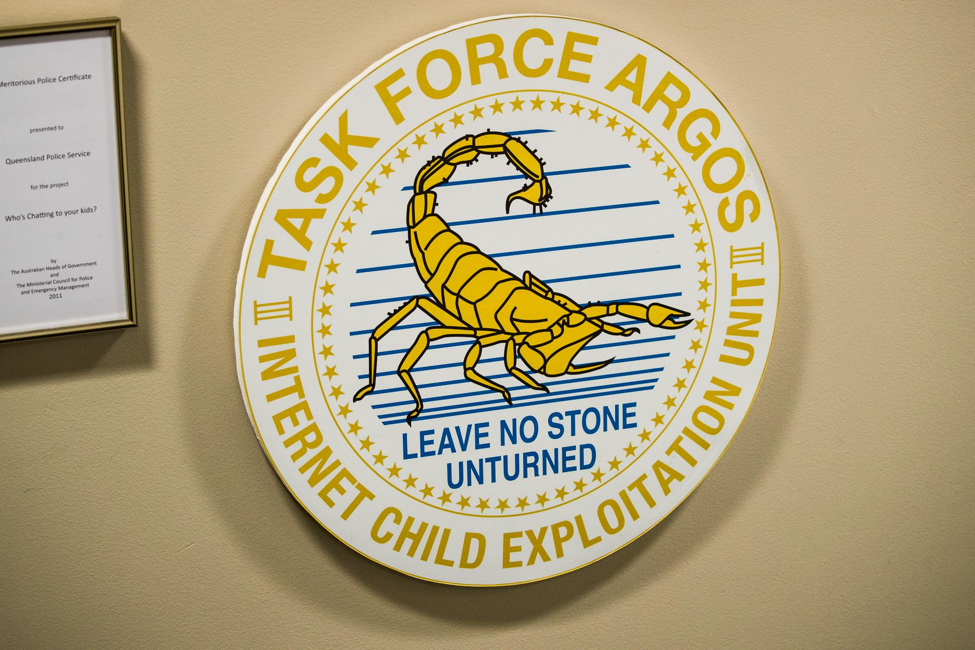 TASK FORCE ARGOS: Emblemet til spesialenheten Task Force Argos hos politiet i Brisbane i Australia, som de siste årene er blitt ledende i å etterforske internettrelaterte overgrep mot barn.