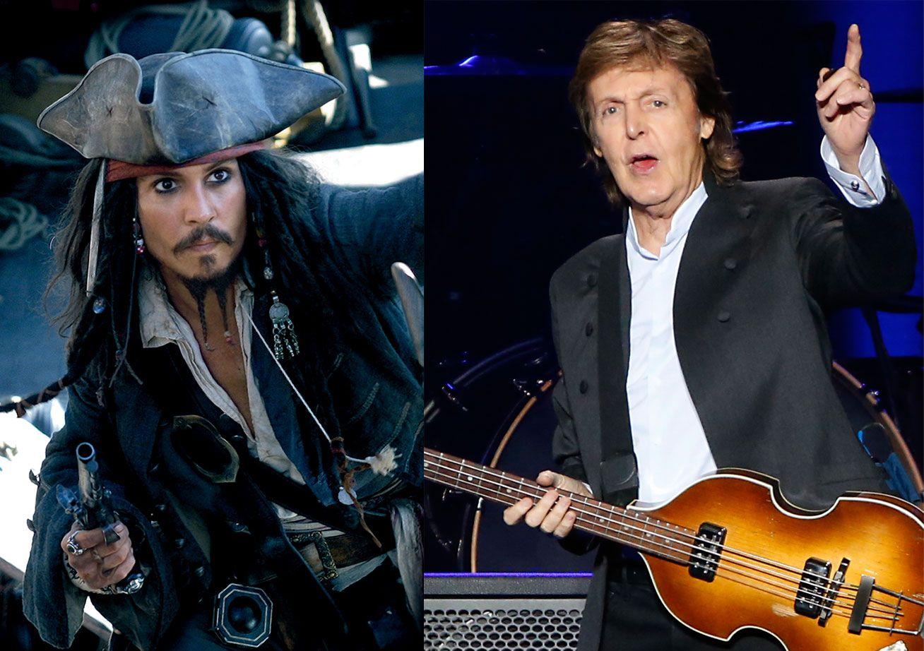 KOLLEGER: Johnny Depp får i rollen som kaptein Sparrow selskap av Paul McCartney.