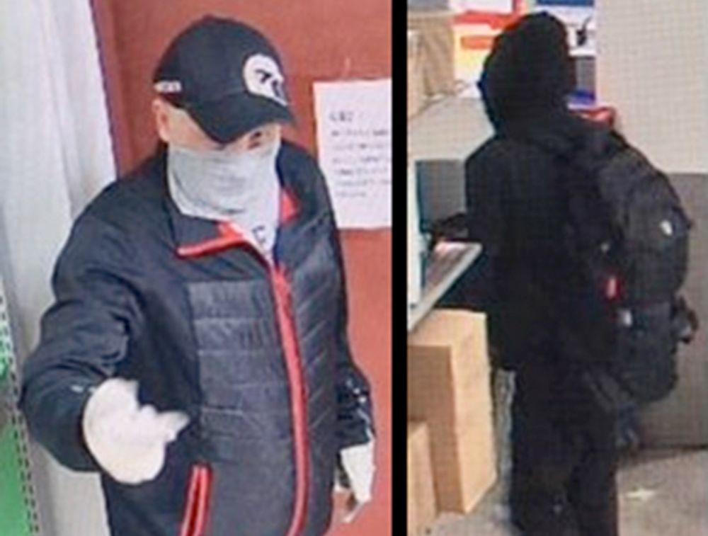 FRA OVERVÅKNINGSKAMERA: Dette er ifølge politiet  gjerningspersonene som ranet et postkontor i Moss lørdag morgen.