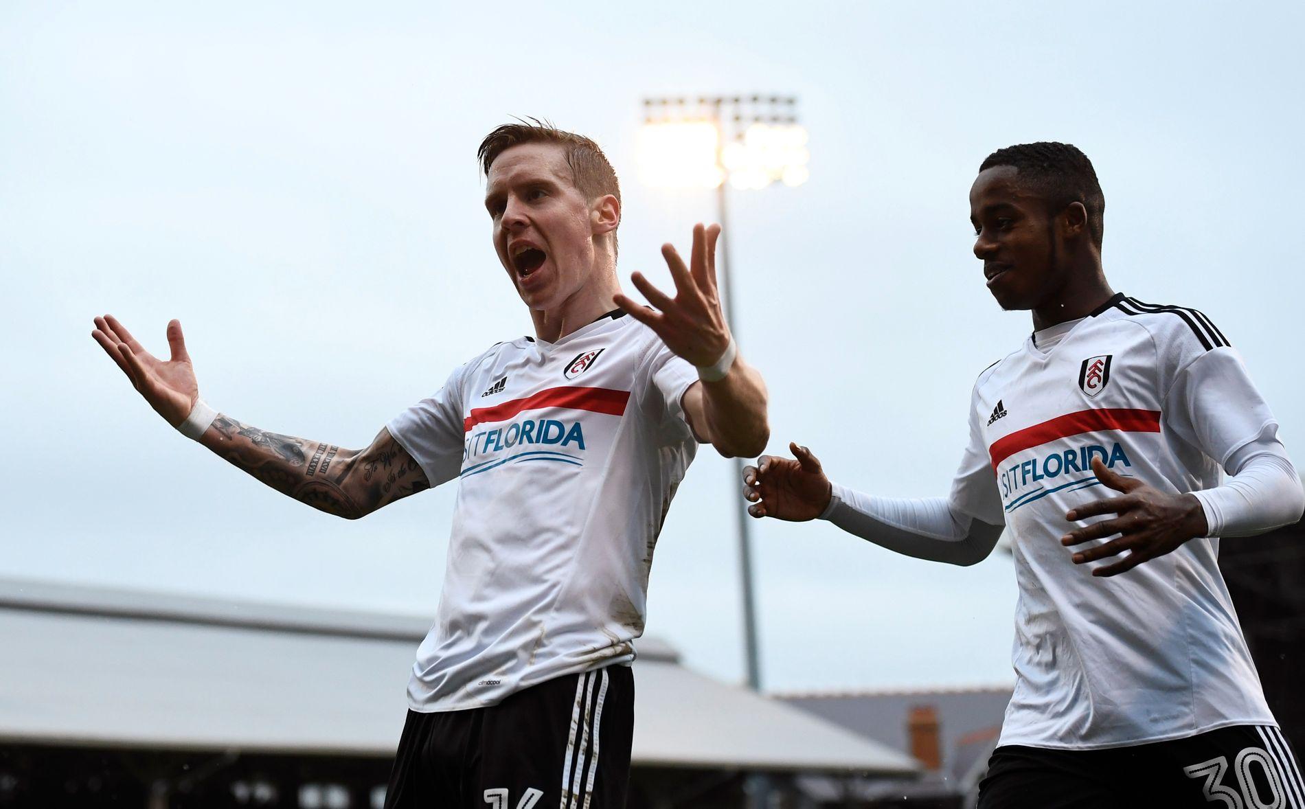 LEVERER: Stefan Johansen har fått sin gjennombrudd i Fulham. Her feirer han mål mot Hull City i januar.