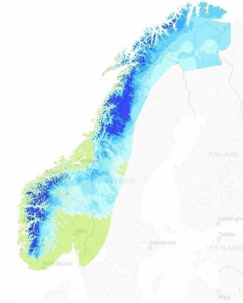 SNØMENGDEN DER DU BOR: Kartet viser snødybde i centimeter rundt om i landet onsdag. I de grønne områdene er det barmark, mens det er mest snø der blåfargen er mørkest.