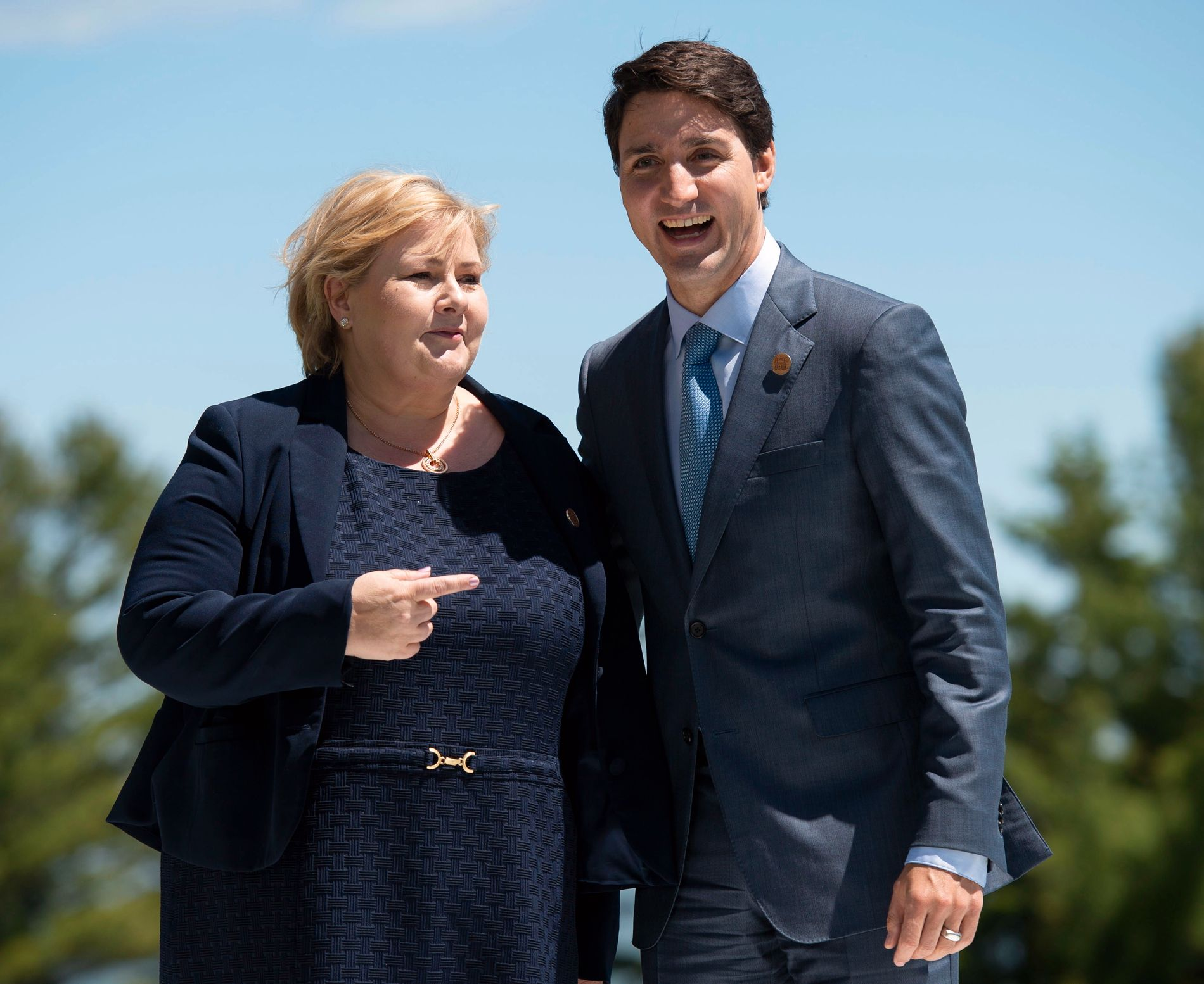 Statsminister Erna Solberg, her med Canadas statsminister Justin Trudeau i forbindelse med G7-toppmøtet i Québec i helgen. Foto: AP / NTB scanpix.