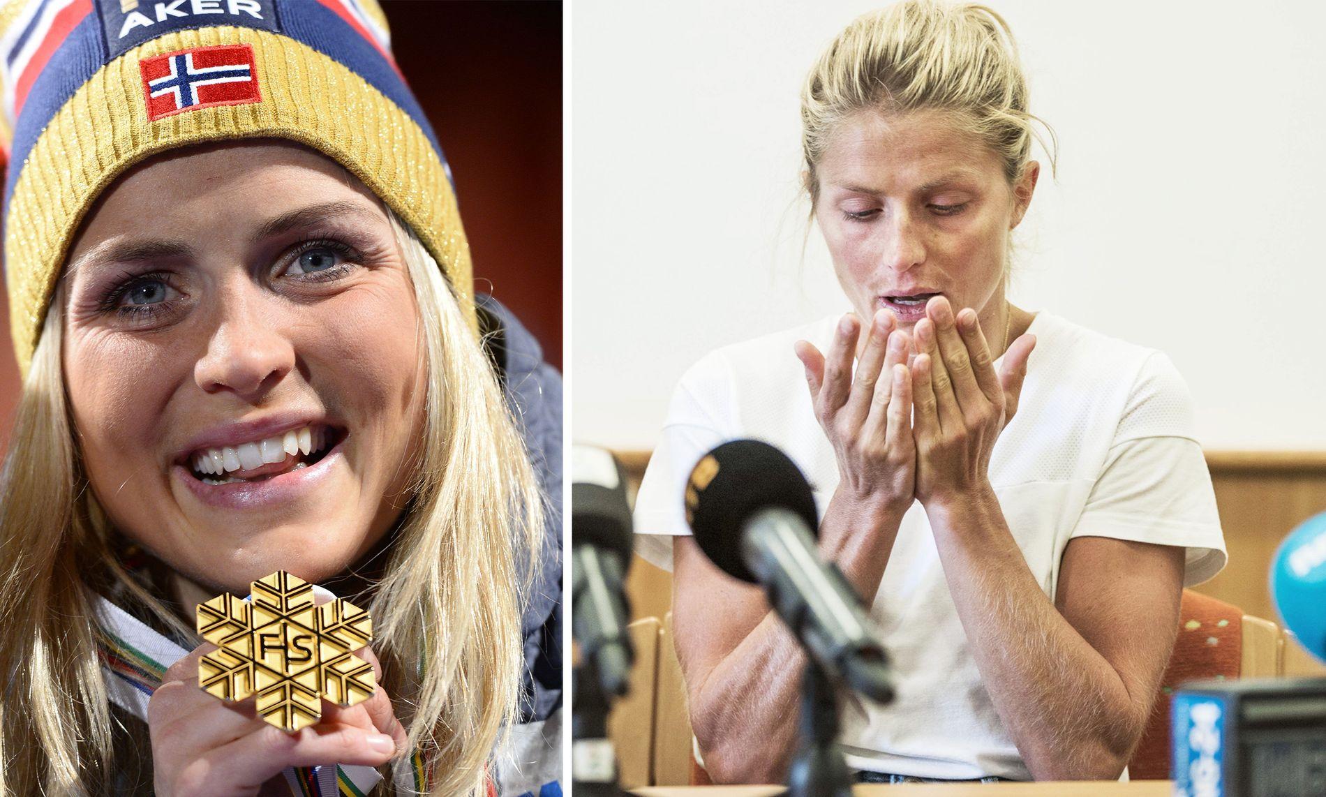 FRA GULL TIL NULL: Therese Johaug dro inn store summer på VM-gullene i Falun (t.v.). Dopingdommen påfører henne tap på flere millioner, gitt at hun prestert på forventet nivå.