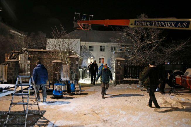 Innspilling av filmen «Snømannen» pågikk i en villa i Madserud Allé mandag kveld.