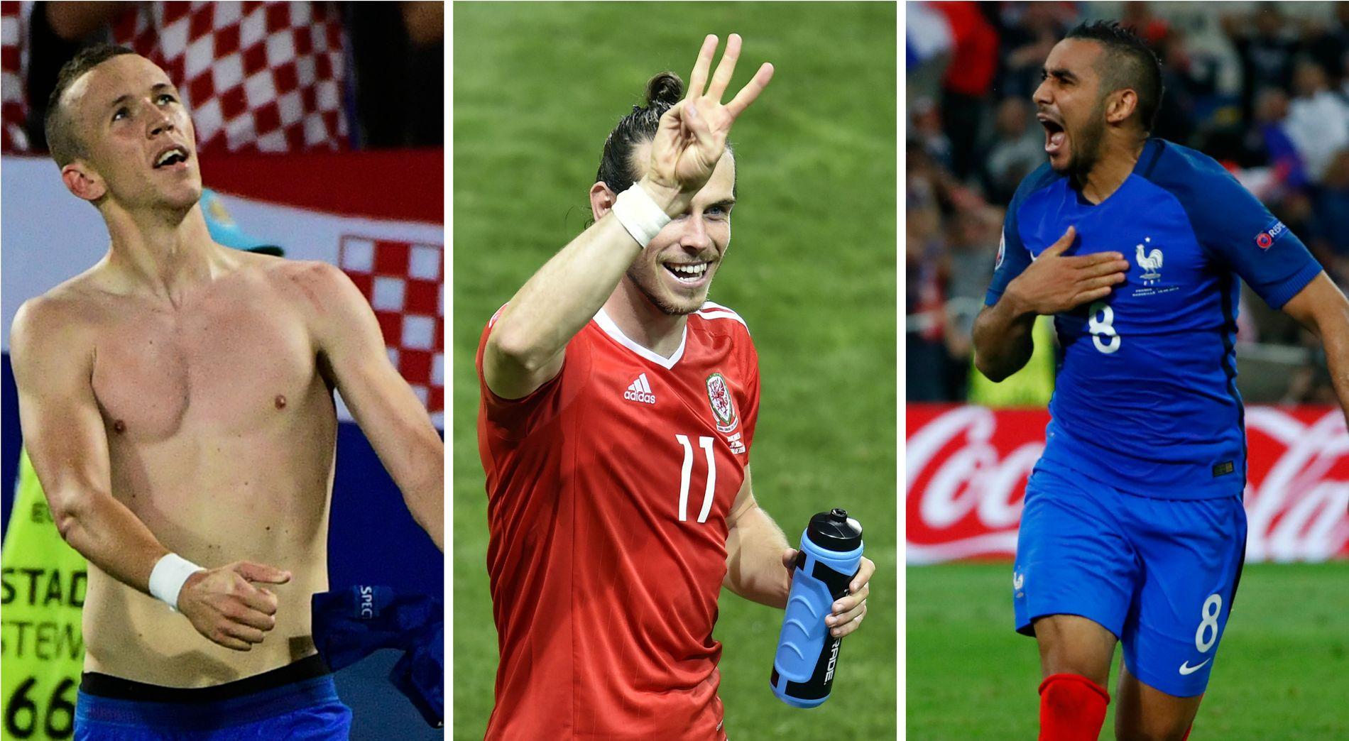 STJERNETRIO: Ivan Perisic, her etter sin scoring mot Spania, Gareth Bale, som feirer mål mot Russland, og Dimitri Payet, som jubler for mål mot Albania, har vært tre av EMs største profiler så langt, mener ekspertene.