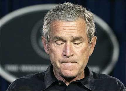TVILER PÅ DARWIN: George W. Bush under pressekonferansen i Texas. Foto: REUTERS