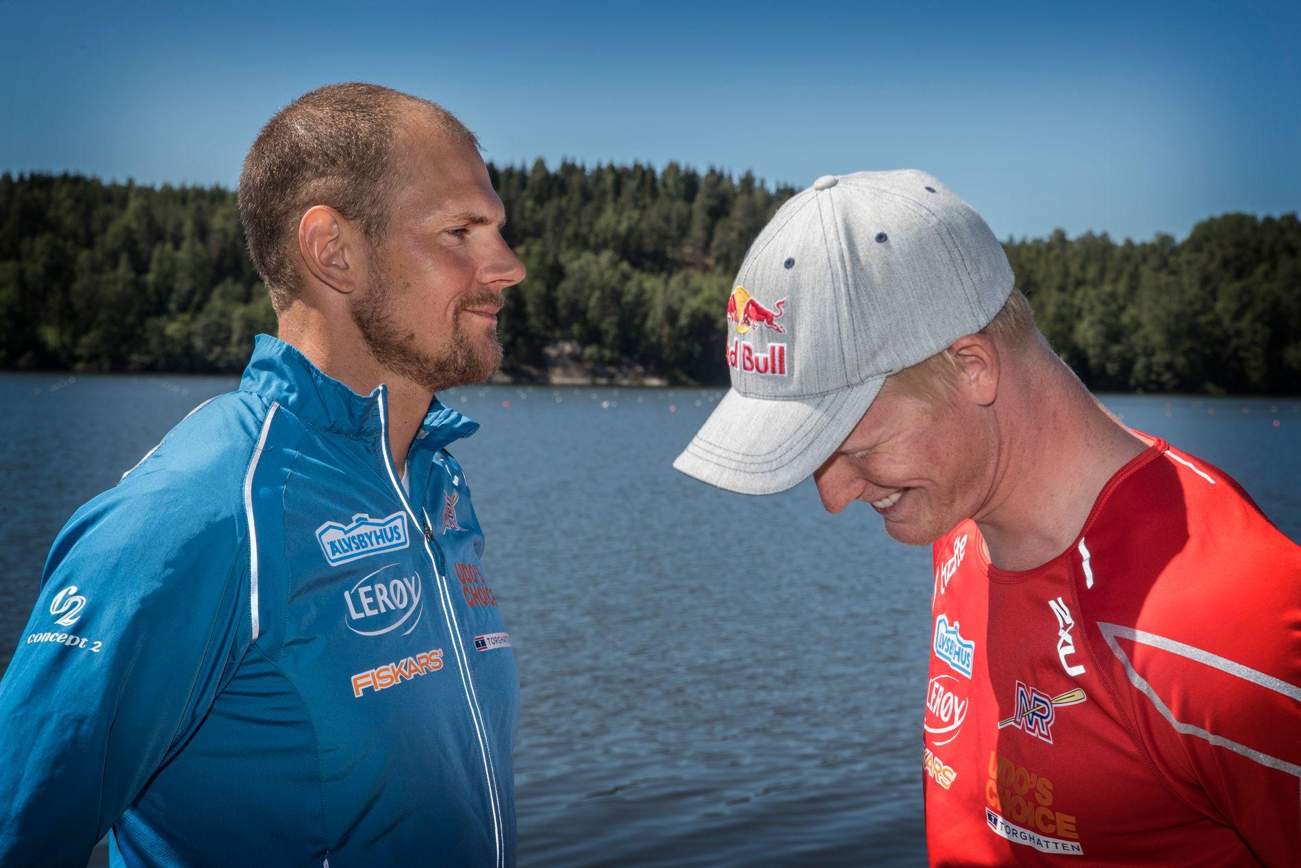 HØYE KRAV: Olaf Tufte tror Kjetil Borch får en tøff jobb med å ta VM-medalje i singlesculler. Men utelukker det ikke. Her er duoen i 2016.
