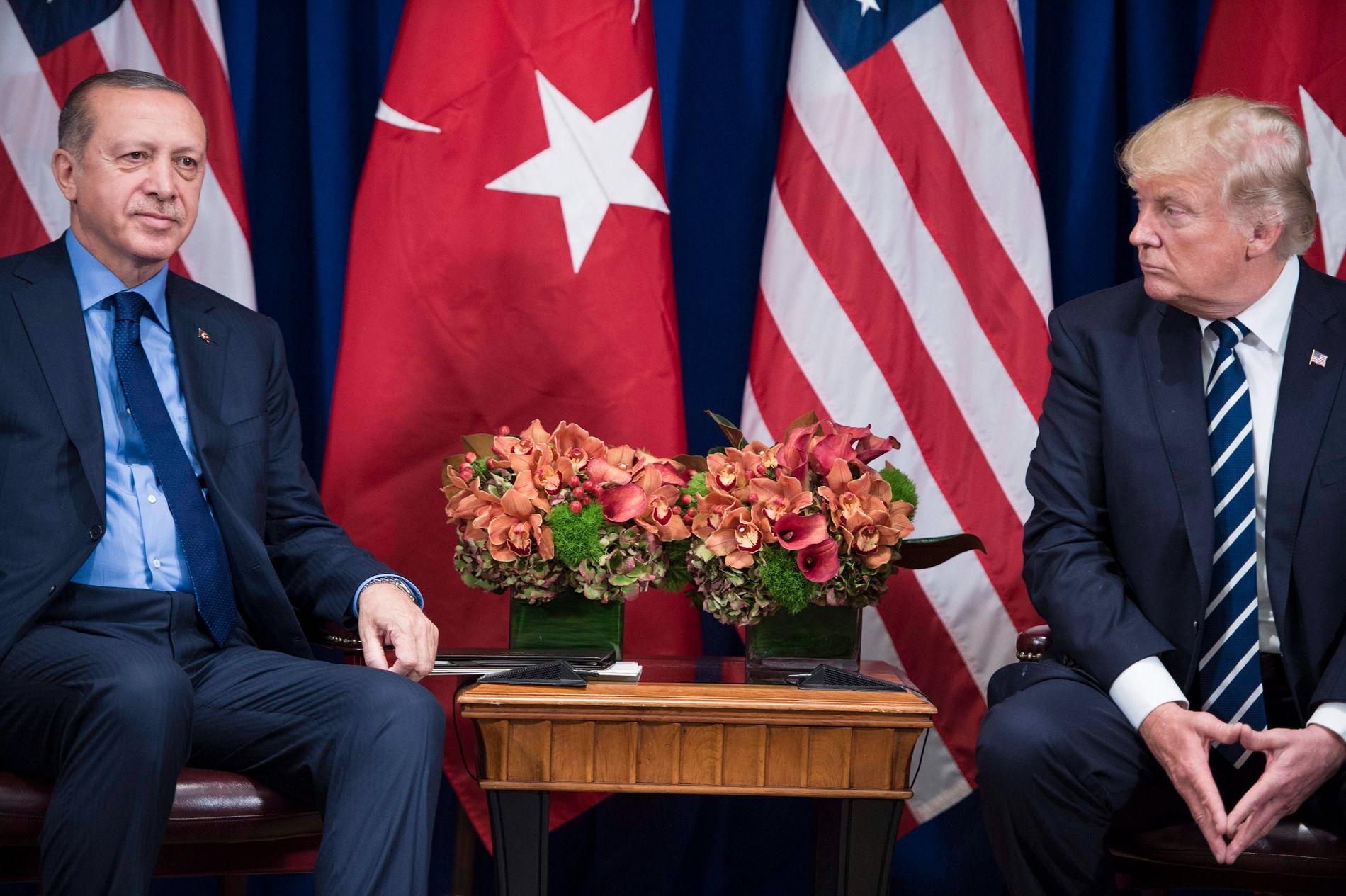 KJØLIGERE: Tyrkias president Recep Tayyip Erdogan og president Donald Trump har mistet sin gode tone. Her under FNs generalforsamling i New York i september.