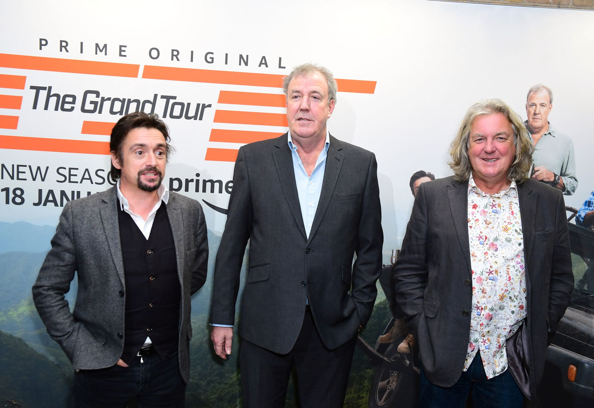 TOP GEAR: Richard Hammond (f.v.), Jeremy Clarkson og James May gjorde stor suksess i Top Gear. Her er de i forbindelse med lanseringen av The Grand Tour Series 3, som Clarkson nå er programleder for.