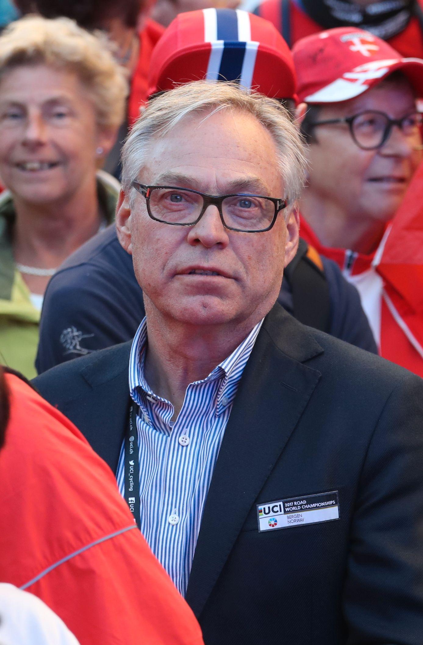 UNDER PRESS: Sykkelpresident Harald Tiedemann Hansen, her under VM i høst.