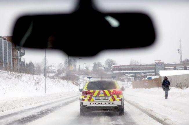 IKKE EN BRØYEBIL: Politiet i Hordaland minner om at de ikke har utstyr til å gjøre noe med glatte veier.