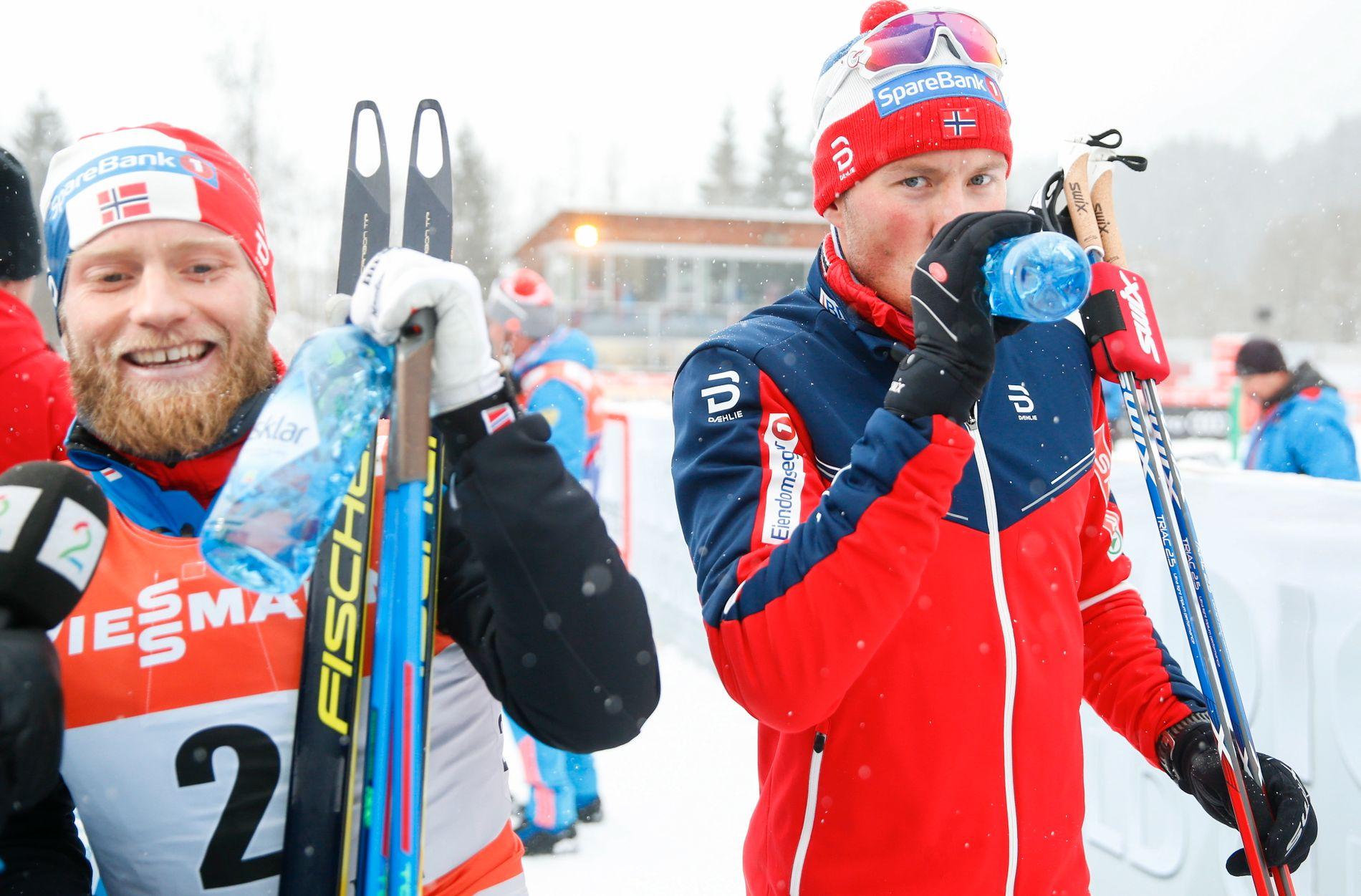 MED BLIKKET MOT LAHTI: Martin Johnsrud Sundby (t.v.) og Emil Iversen er begge gullhåp i Lahti-VM. Sundby er stor favoritt på femmila.