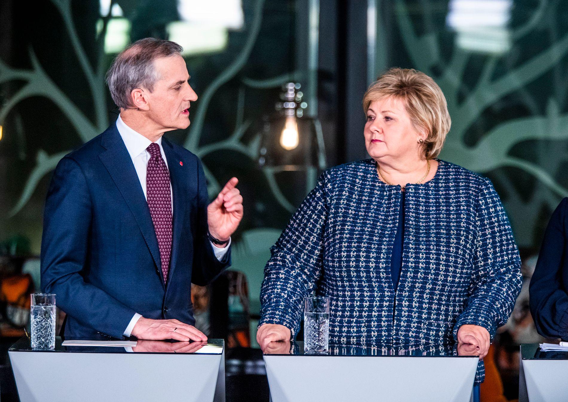 GANSKE ENIGE: Ap-leder Jonas Gahr Støre og statsminister Erna Solberg under en debatt i januar i år.