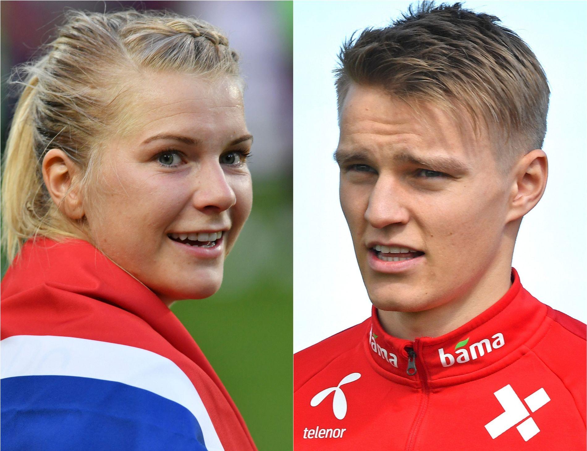 FOTBALLSTJERNER: Lyons Ada Hegerberg og Real Sociedads Martin Ødegaard er to av Norges mest profilerte fotballspillere.
